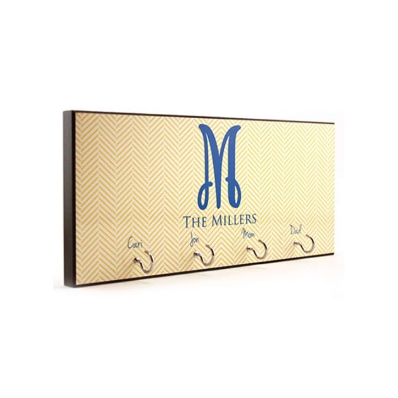 Appendiabiti da muro con 4 ganci Personalizzabile 13x28x1,5 cm