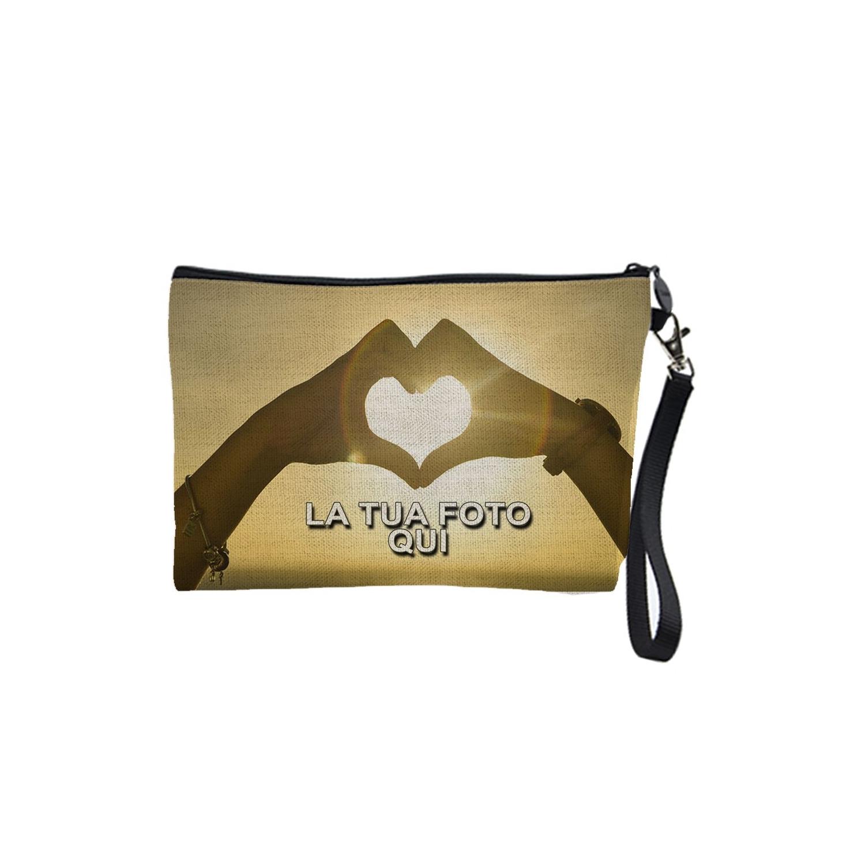 Pochette personalizzata con foto in tessuto CANVAS (Tela) Portaoggetti, portatrucchi 24x15cm con laccetto