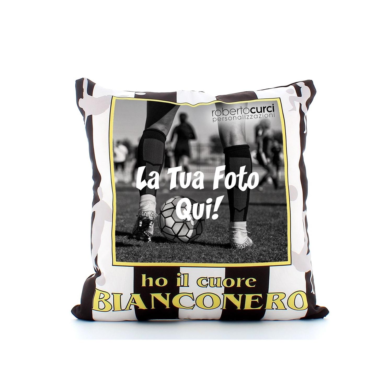 Cuscino Personalizzato Ho Il Cuore bianconero Tifoso Calcio - Squadra del cuore