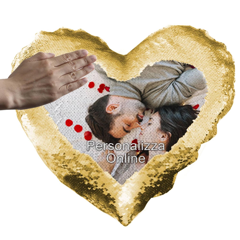 Cuscino Personalizzato Cuore Stampato su Paillettes Personalizzato Oro