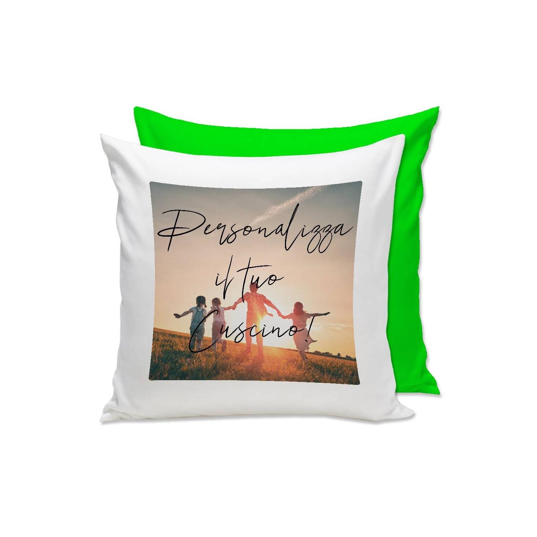 Cuscino personalizzato con foto e retro verde Quadrato
